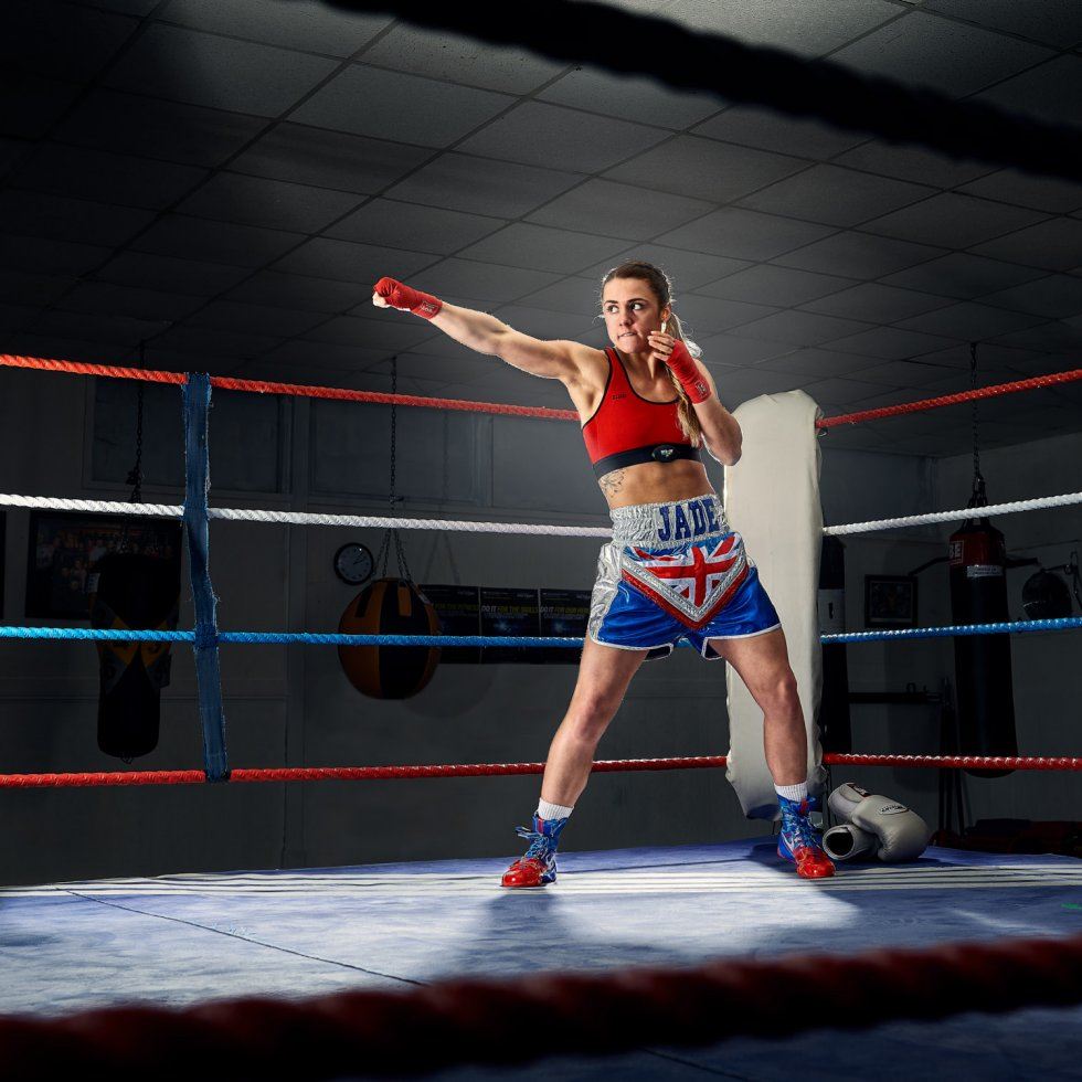 Female boxer getting ready for the Tokyo 2020 olympics. Wear boxing shorts designed by her dad. Jade Ashmore fighting at 51kg. Dressed in the MyZone sports bar which is help to monitor her training.